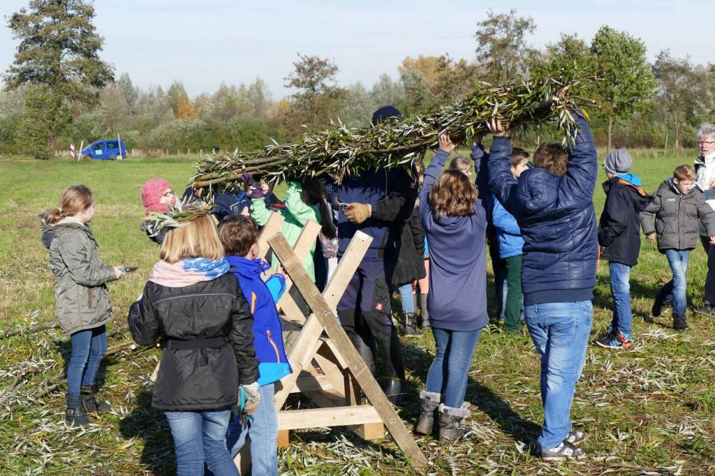 (c) NABU Grefrath (Karl-Heinz Hengsten, Franz Miertz) Schüler beim Binden von Weidenholzfaschinen