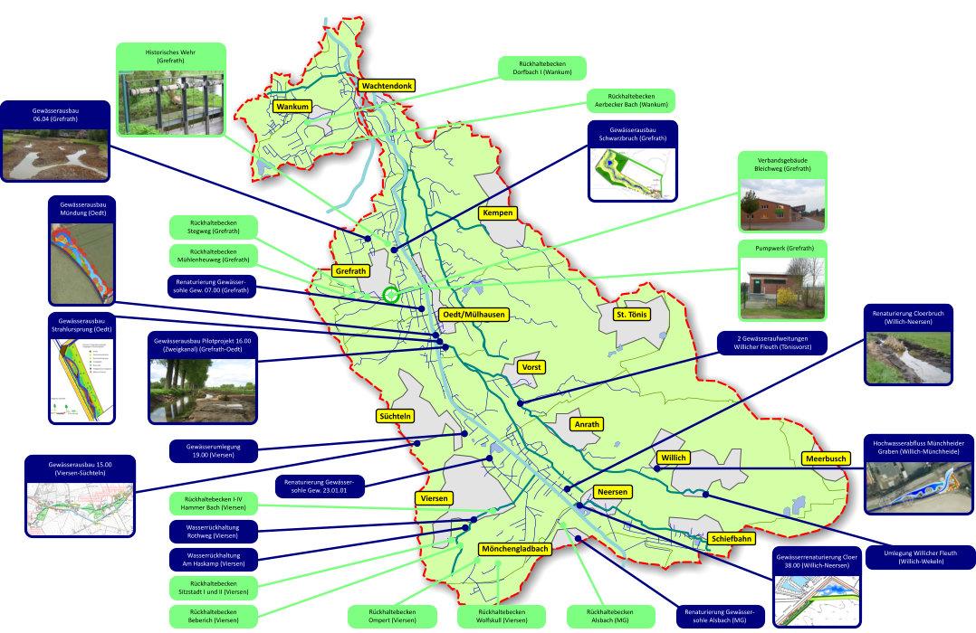 Verbandsgebiet mit Gewässernetz, Projekten und Anlagen