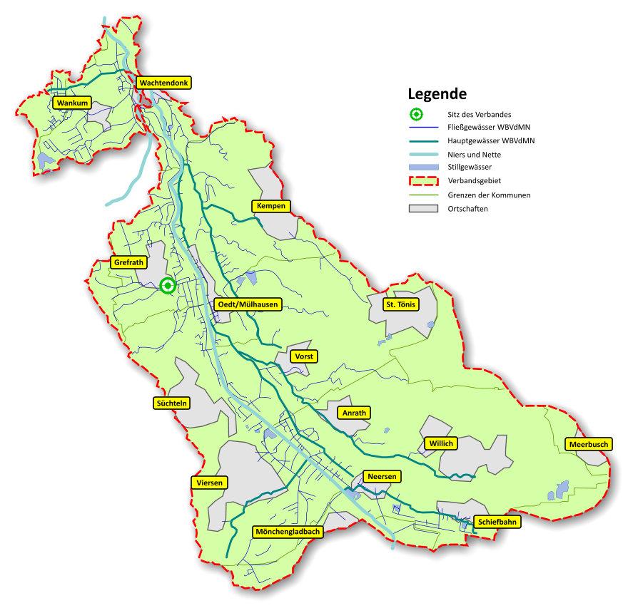 Verbandsgebiet mit den Hauptortschaften und dem Gewässernetz