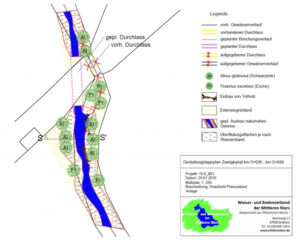 (Planung des neuen Gewässerverlaufs mit dem Durchlass)
