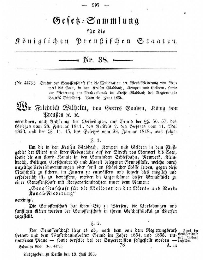 Gründungsurkunde von 1856