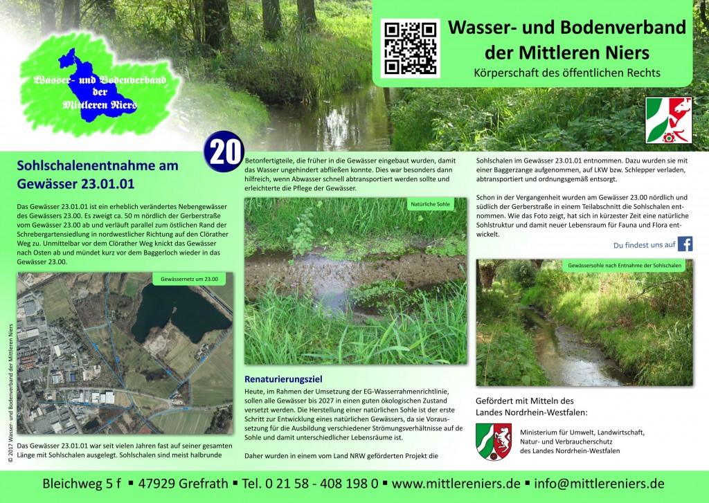 Infoschild zur Sohlschalenentnahme am Gewässer 23.01.01